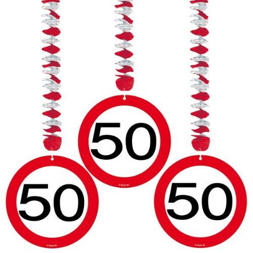 Traffic Sign 50th Party Hanging Decor 3 Birthday Decoration